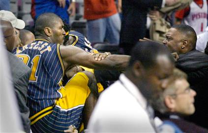 Ron Artest, About to Fuck Some Fans Up
