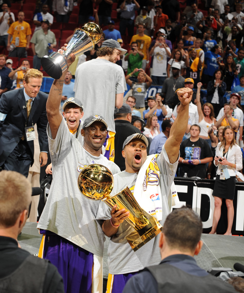 Kobe and Fisher After Finals Win